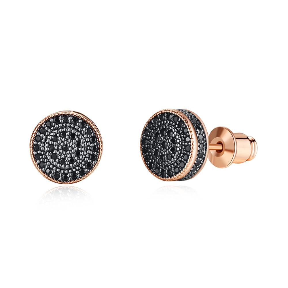 Pendientes de tuerca redondos pequeños elegantes para mujeres con circonita cúbica AAA negra/blanca, regalo de joyería de moda de tres colores