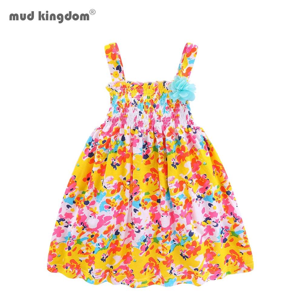 Mudkingdom criança menina vestido de verão algodão floral smocked vestidos para o bebê meninas vestido de verão bonito little kids jumper