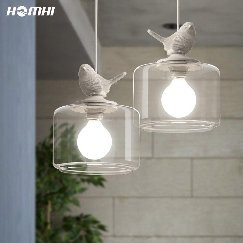 Vogel lampe hanglamp candiles de cristal moder anhänger beleuchtung für küche insel kinder lampe zimmer glas bar weiß kreative