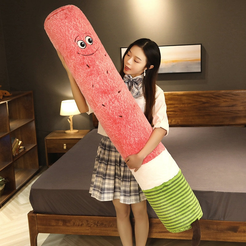 Washable Watermelon Long cylinder Pillow Cartoon Fruit Avocado Strip Headrest Cushion pregnant Sleeping Pillow Birthdat Gift