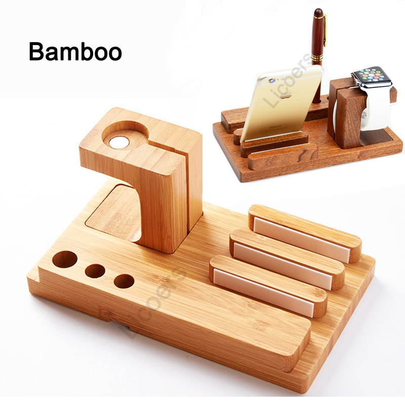 3 в 1, деревянная бамбуковая зарядная станция для iPhone
