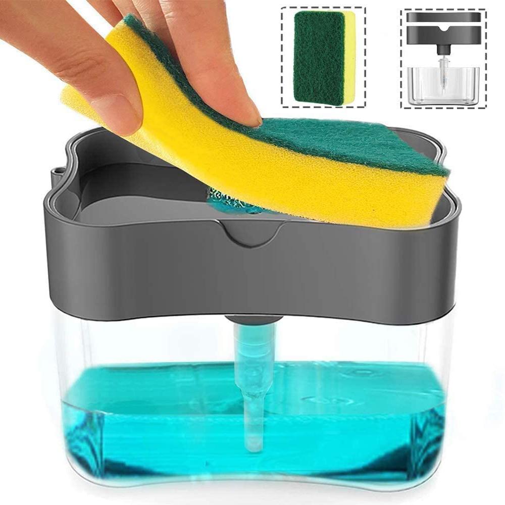 الصحافة موزع الصابون تنظيف تنقية السائل المنظفات موزع صندوق الصابون مضخة المنظم الحاويات أداة مع غسل الإسفنج