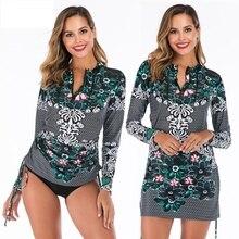 CPUTAN 2020 Push Up Tankini Skirt Women Swimwear Plus Size Retro Print Bathing Suit Long Sleeve Swimdress Beachwear XXL