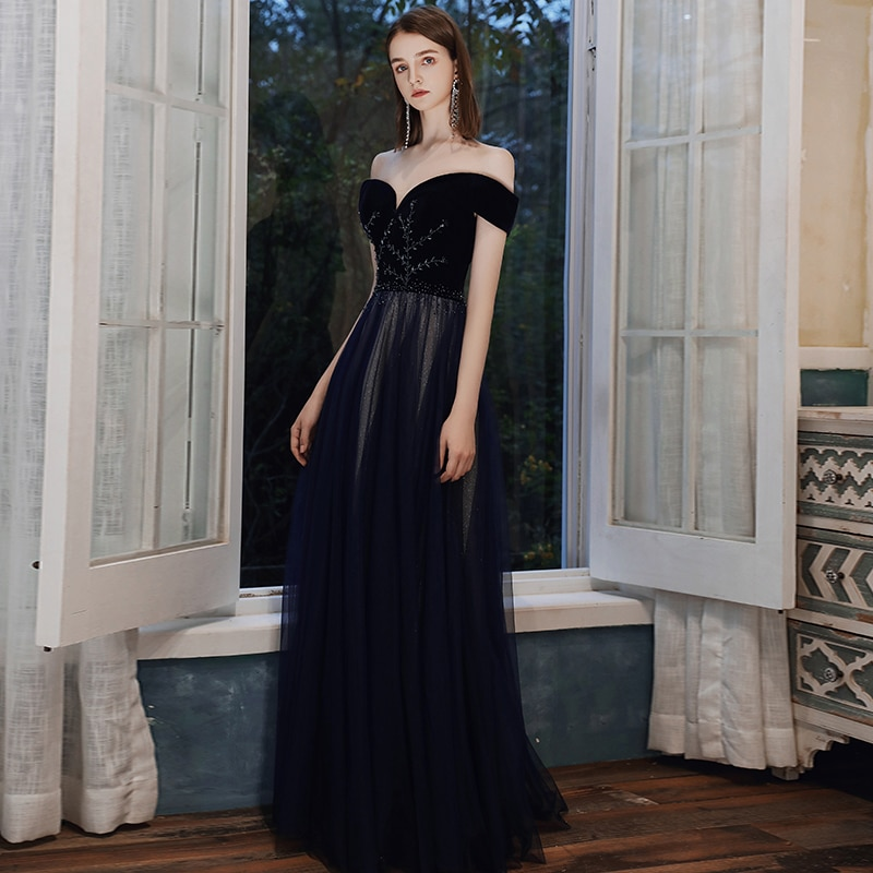 Sexy Off the Shoulder Evening Dresses Lace-up Back Long Prom Gowns Beading on the Top 2021 New Arrival
