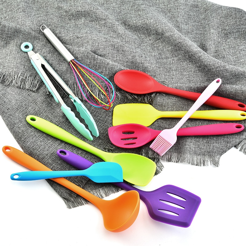Utensilios de cocina de silicona de colores, juego de utensilios de cocina de 10 piezas, todo incluido, utensilios de cocina de silicona