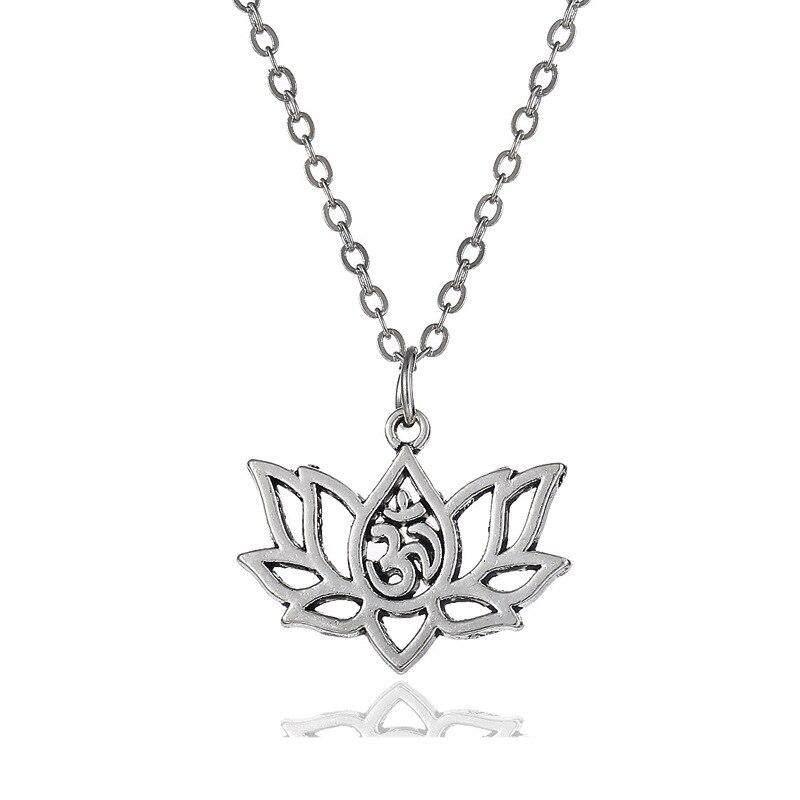 TSHOU426-قلادة زهرة اللوتس المعدنية المخرمة ، اللون الفضي ، امرأة ، وصلة هدية للمشتري