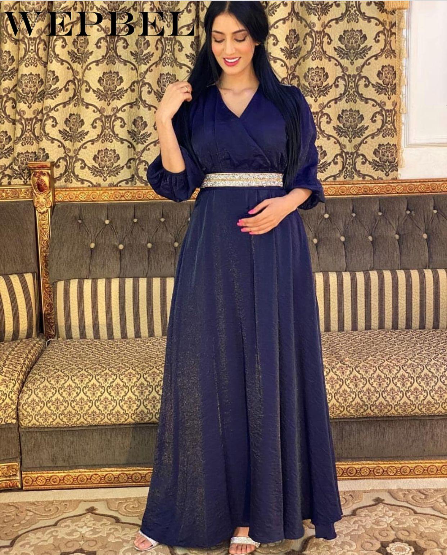 WEPBEL-túnica cintura alta para mujer, Túnica cintura alta musulmana árabe Dubái con...