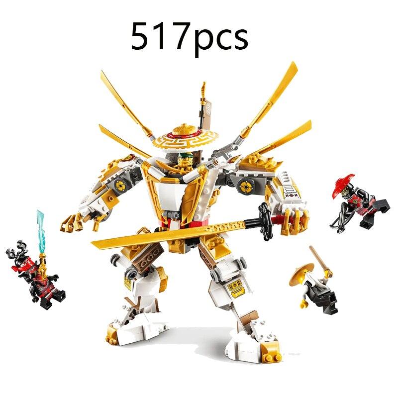 Nueva Serie Ninja ladrillo Golden Mech Titan Robot Compatible Lepining Ninjago 71702 Juguetes de bloques de construcción para niños regalo de cumpleaños