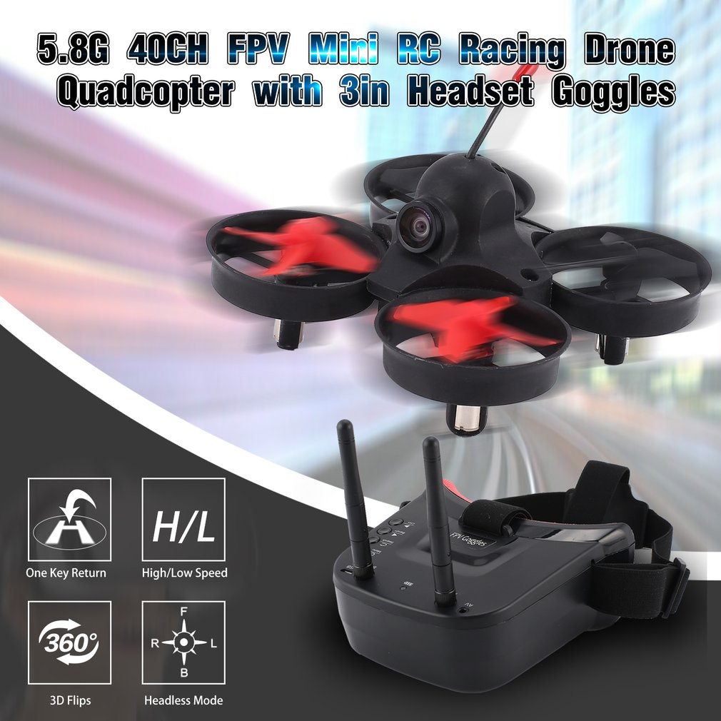 58g 40ch fpv camera mini rc corrida zangao quadcopter aeronaves com 3in fone de ouvido