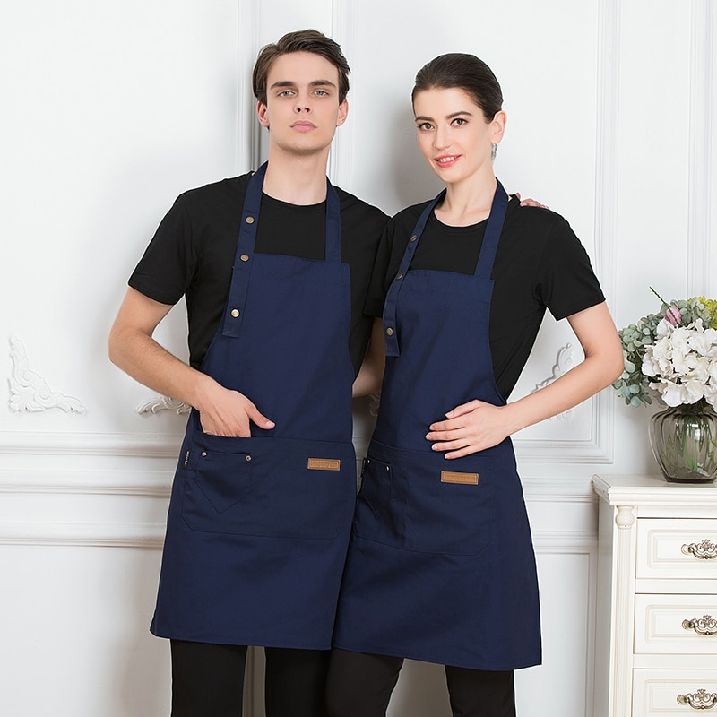 Новый однотонный кухонный фартук, приготовление пищи для женщин, мужчин, шеф-поваров, официантов, кафе, магазинов фартуки для барбекю, парик...