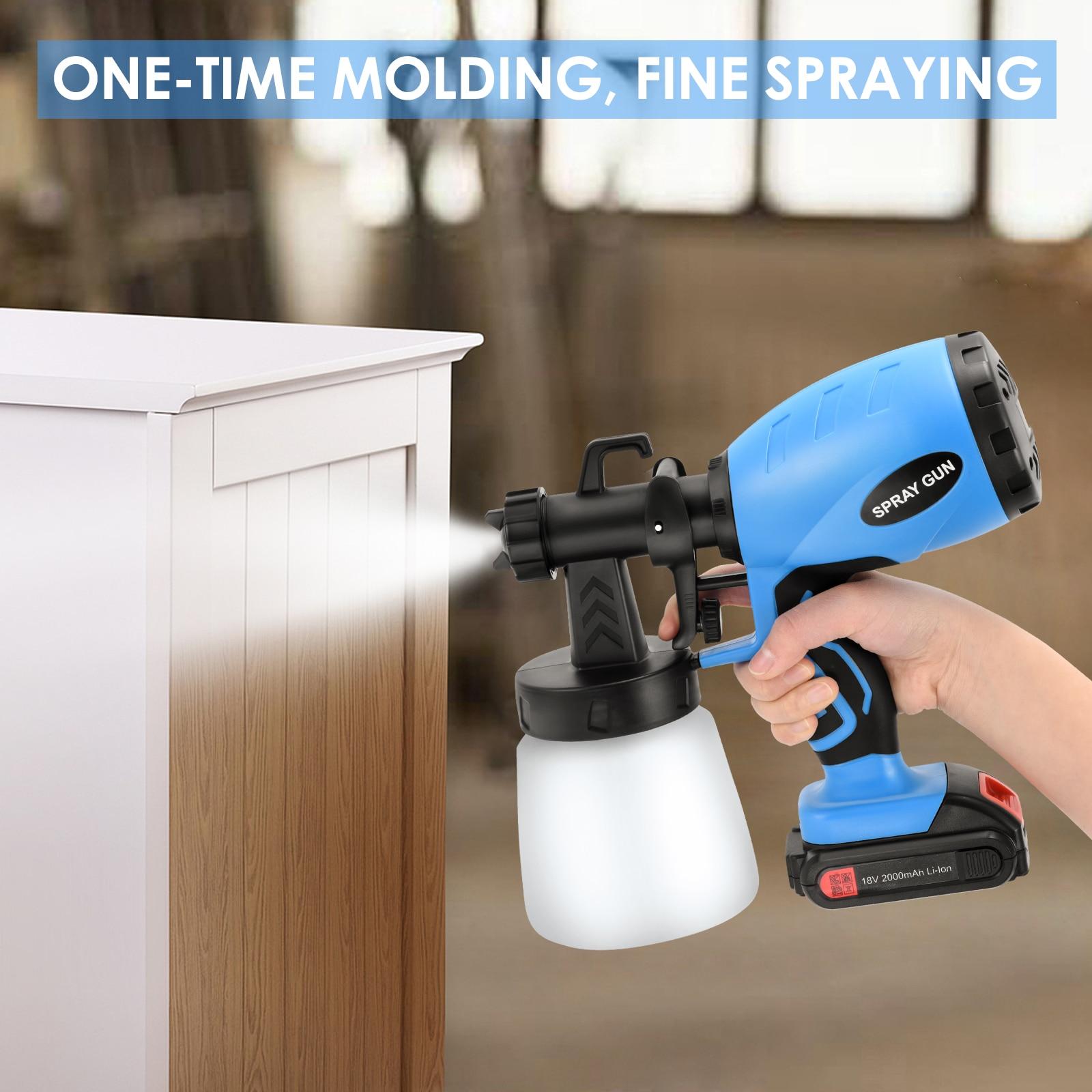 800ML Cordless Electric Spray Gun With 3 Spraying Modes Household Flow Control HVLP Airbrush Sprayer Tool Portable Paint Sprayer