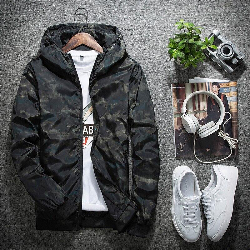 2021 Mens Spring Outerwear Camouflage Coat Casual Hooded Zipper Slim Windbreaker Baseball Uniform Jacket Cool Windbreaker M-5XL