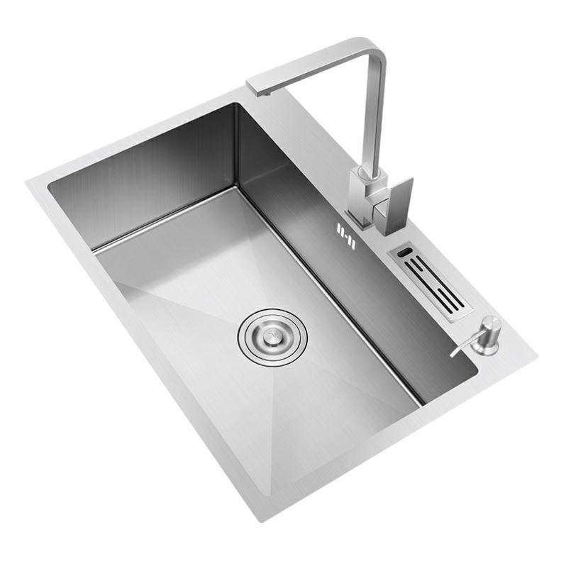 304 Stainless Steel Kitchen Sinks Thickened Manual Single Trough Large Basin above counter Basin Dishwashing Kitchen Basin AUN9