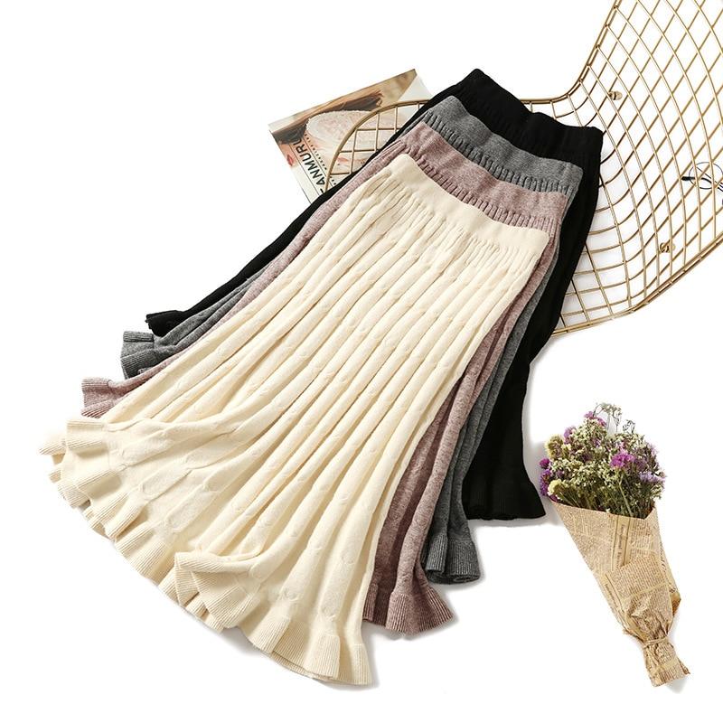 HLBCBG Warm Knitted Midi Skirt Women For Autumn Winter 2019 Koreaan Ladies High Waist A Line Pleated Long Skirt Female