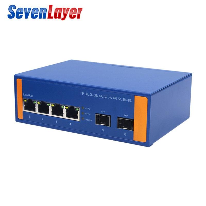 O sinal de rede industrial do interruptor 10/100/1000 m dos ethernet reforça a fibra do tipo ethernet 2 do trilho do ruído de 4 portos