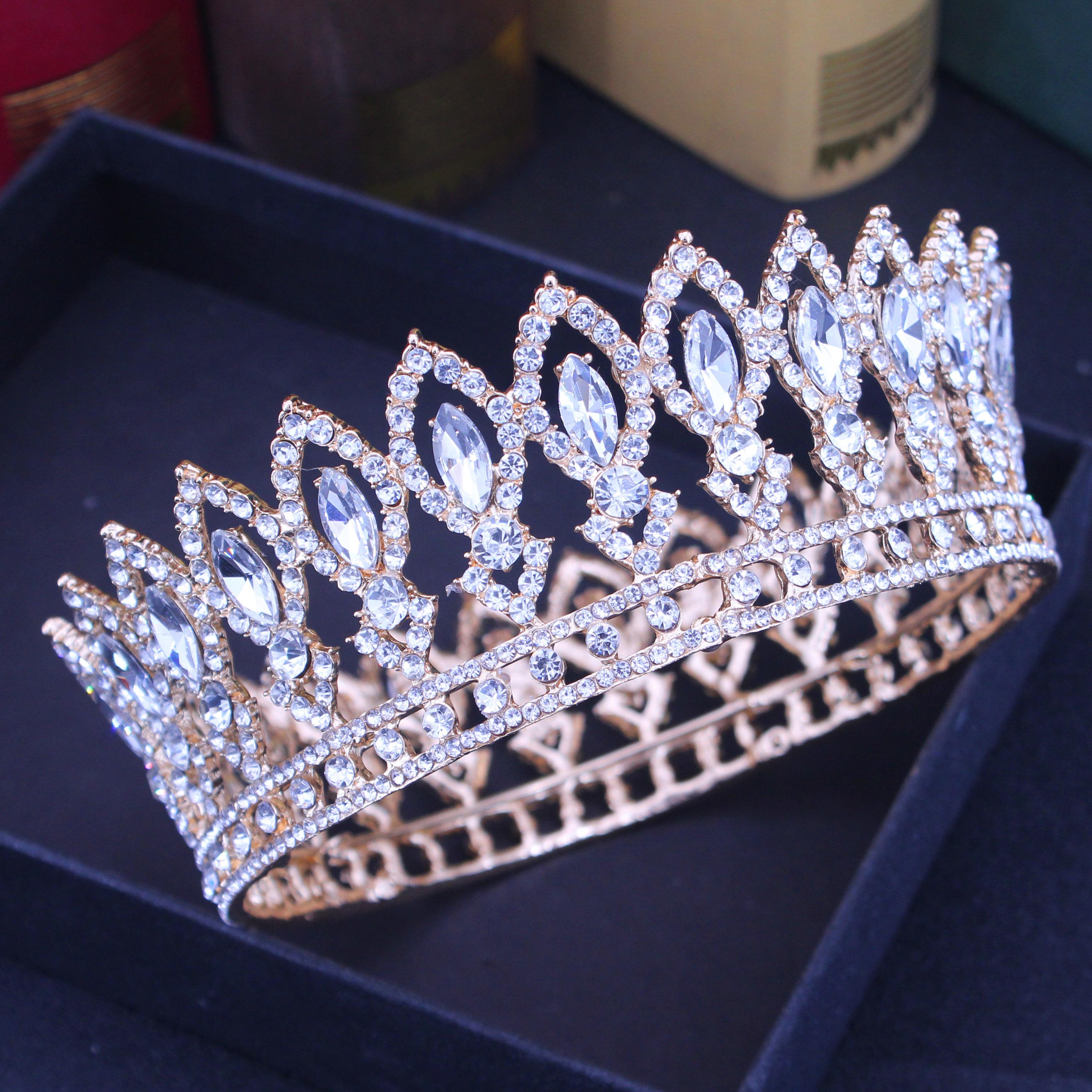 Tiara de cristal de Reina nupcial, coronas para boda, diadema de novia barroca dorada, diadema de concurso de belleza, accesorios de joyas para el pelo para mujer
