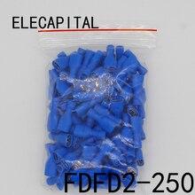 FDFD2-250 FDFD2.5-250 Femminile Isolato Elettrico Crimp Terminal per 1.5-2.5mm2 Connettori Legare del Cavo del Connettore 100 Pz/pacco FDFD