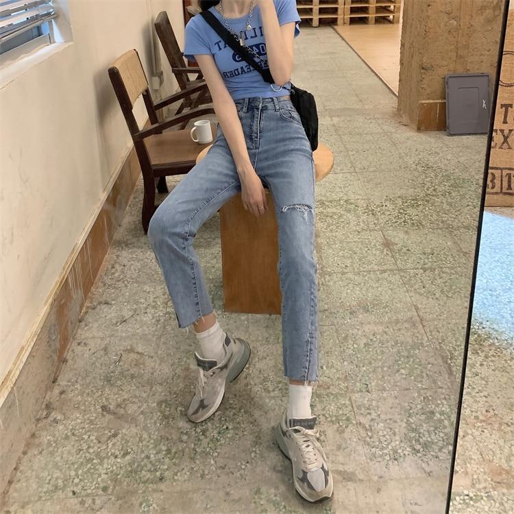 New High Waist  Pants Slim Hole Summer Korean Version Raw Edge Split Straight Leg Jeans Tight Capri