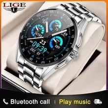 LIGE Smart Watch Men Heart Rate Monitoring Bluetooth Call Sports Tracking Watch IP68 Waterproof Rota