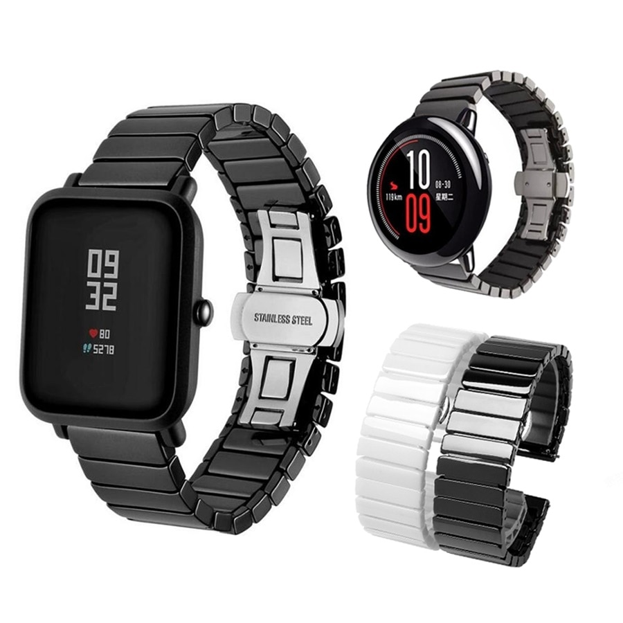 حزام ساعة سيراميك Huami Amazfit Bip ، سوار Amazfit Pace Stratos GTR GTS لساعة Huawei Watch Gt Honor Magic