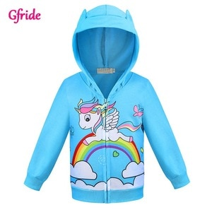 Girls Hoodies Cartoon Coat Rainbow Pony Spring Casual Hoodies For Girl Full Sleeve Jaket Kids Coats Sweatshirt Children Costumes