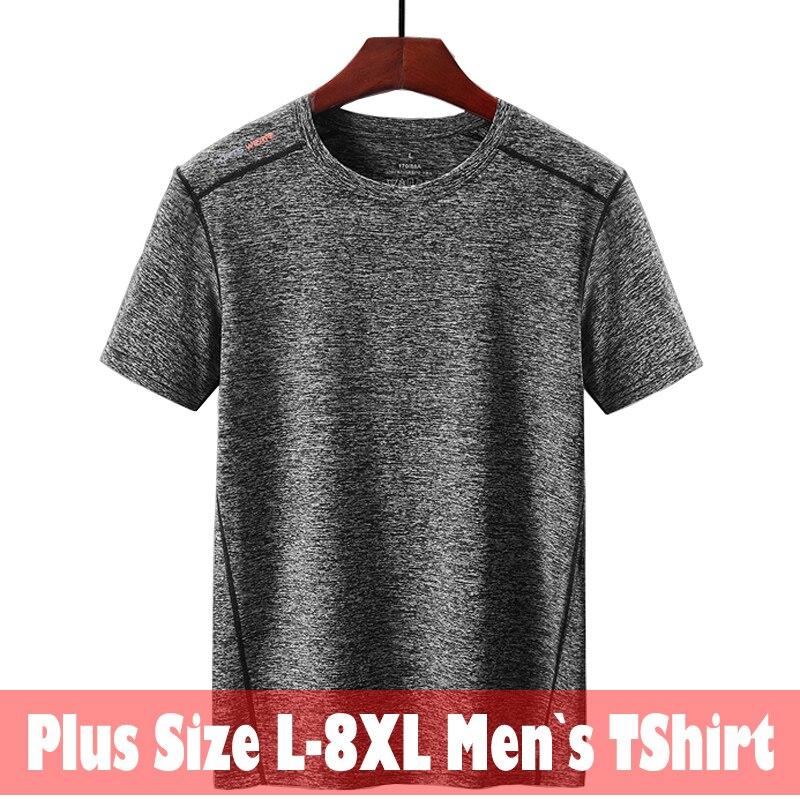 L-5XL 6xl 7xl 8xl camisa do esporte de secagem rápida t dos homens verão respirável casual t-shirts tamanho grande