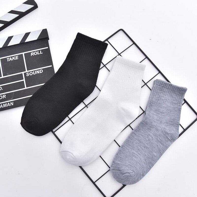 5 пар, однотонные хлопковые мужские носки, модные тонкие длинные носки, спортивные короткие носки по щиколотку, мужские повседневные Черные,...
