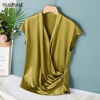 yilinhan 2021 summer new silk tops for women v neck temperament short sleeve slim elegant party 100 natural silk shirts