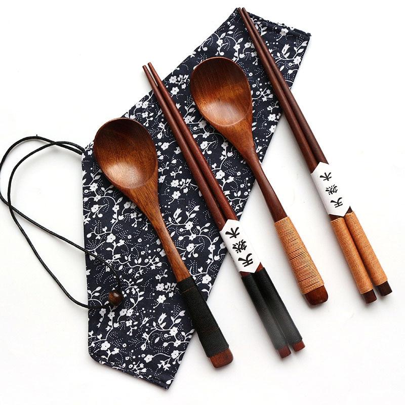 Палочки для еды ручной работы, Набор японских деревянных ложек с карманом в подарок, бамбуковая палочка, 1 пара + 1 ложка