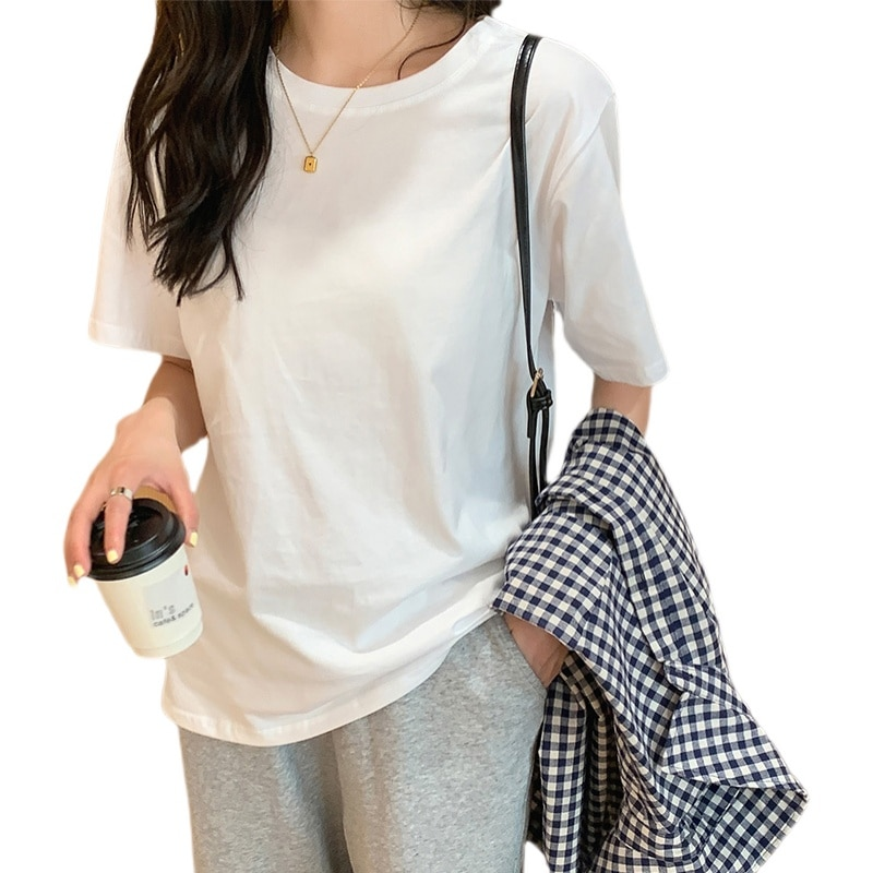 Casual Solid color loose T-shirt women's commuting thin short sleeve cotton round neck with top