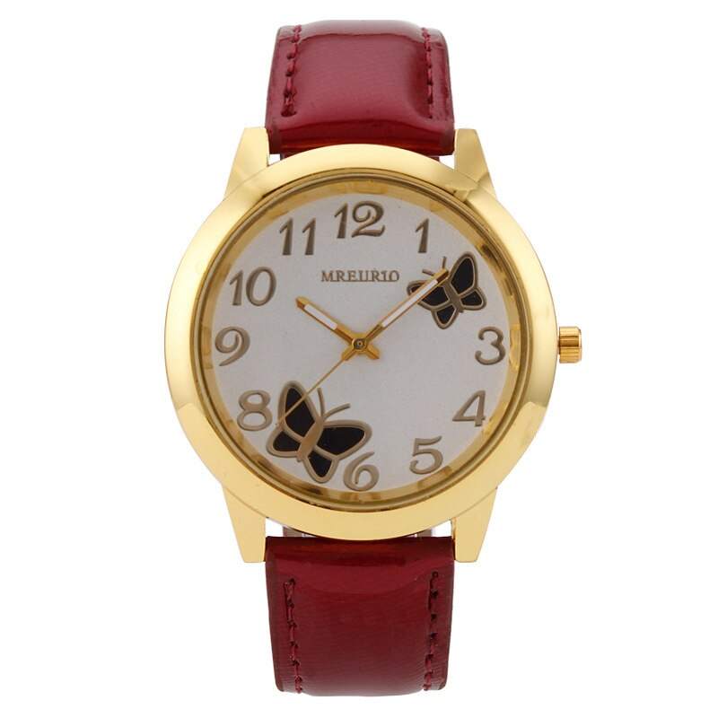 New Fashion Ladies Quartz Watch Red Bright Leather Strap Simple Digital Butterfly Pattern Watches For Women Clock Montre Femme fashion simple ladies wrist watches luminous women watches casual leather strap quartz watch clock montre femme luxury gift