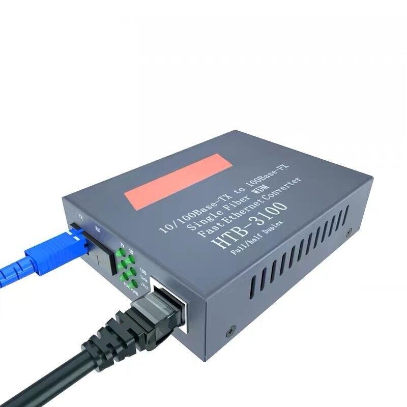 Convertidor de medios de fibra óptica HTB-3100, transceptor de fibra, convertidor de fibra única 25km SC 10/100M monomodo