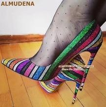 ALMUDENA multicolore paillettes à talons hauts pompes colorées arc-en-ciel rayure Bling Bling robe chaussures talons aiguilles Bling pompes