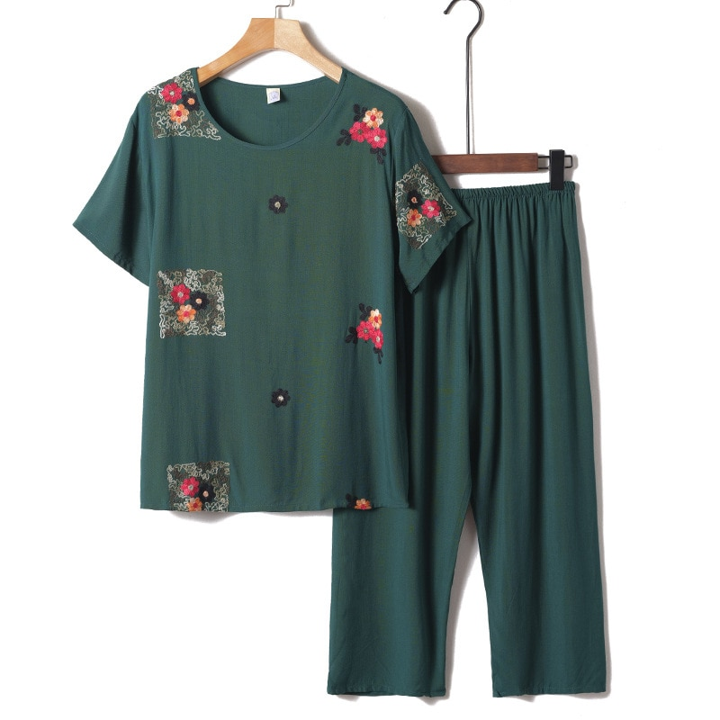 Fdfklak nova chegada do sexo feminino pijamas conjunto sleepwear feminino algodão impressão flor pijamas verão solto pijamas casa grande XL-4XL