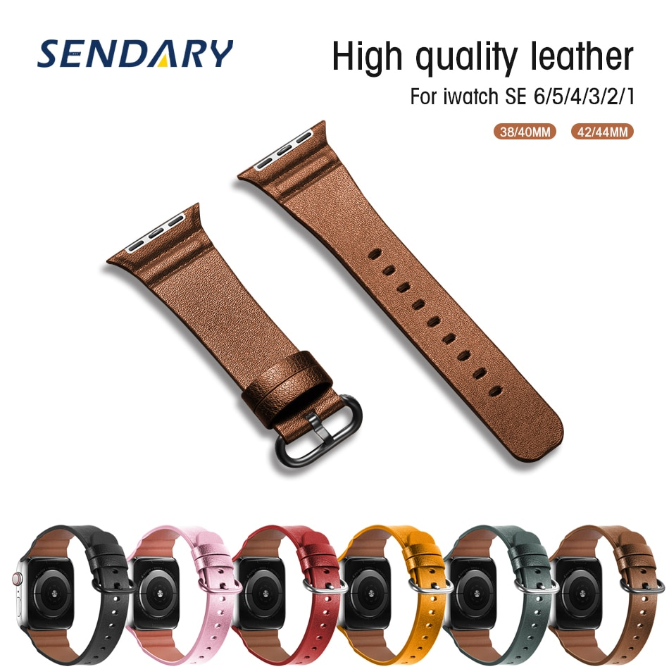 natural genuine leather loop band for apple watch 42mm 38mm women men sport strap for iwatch series 4 3 2 1 40mm 44mm wrist band Sport Leather Watch Band for Apple Watch Series 1/2/3 Sport Loop Band 42MM 38MM Strap For iWatch 4 5 6 SE 44MM 40MM Bracelet