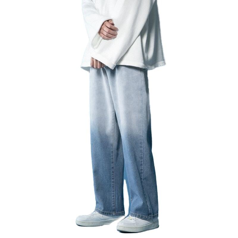 Autumn Winter Tapered Straight Jeans Men Men's Korean Fashion Loose Wide Leg Gradient Printing Casual Long denim Pants