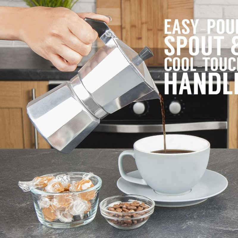 Cafetera de aluminio Mocha Espresso percolador cafetera Moka maceta 1 taza/2taza/3taza/6taza/9taza /máquina de café de 12 tazas