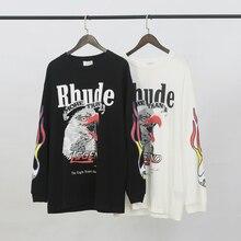 RHUDE Maxfield à manches longues t-shirt hommes femmes limite Harajuku Streetwear été t-shirt coton RHUDE x Maxfield à manches longues t-shirt