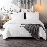 solid grey white duvet cover set seersucker washed microfiber twin single double queen king size bedding set for children adults