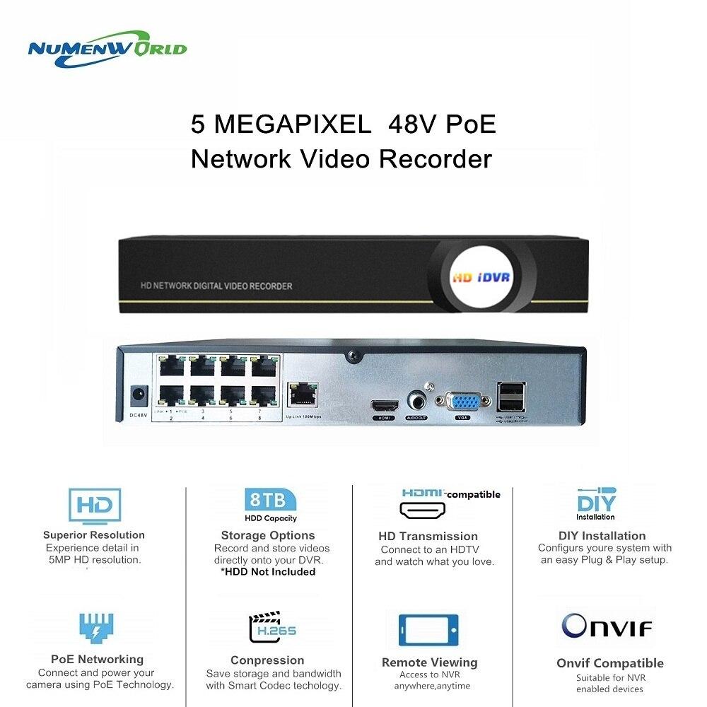 مسجل فيديو شبكي h265 4/8CH ، POE ، NVR ، P2P ، كاميرا IP CCTV للأنظمة الأمنية للمراقبة بالفيديو ، متوافق مع onvif ip