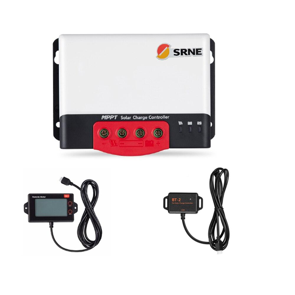 SRNE MC2420N10 20A 12v 24v hacer el controlador de carga Solar azul cielo MPPT con módulo Bluetooth BT-2 y RM-6 módulo de pantalla LCD