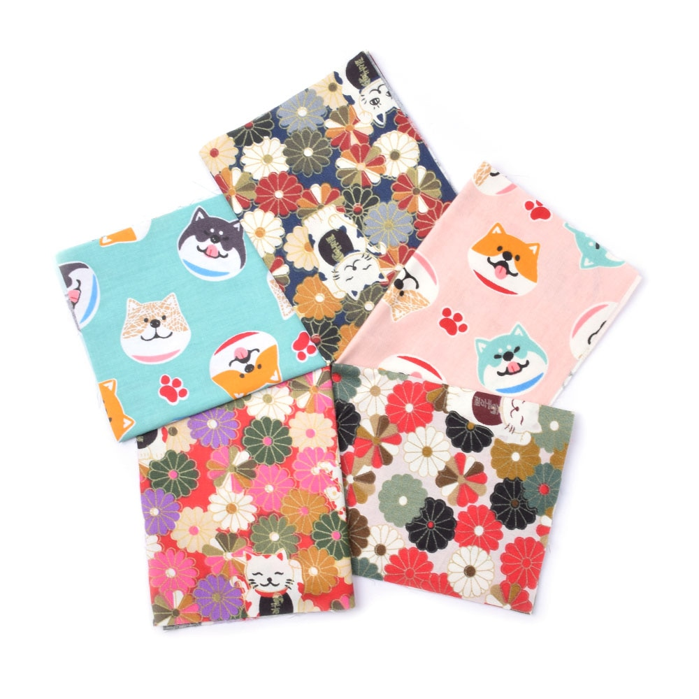 5 uds 20x25cm estilo japonés impreso 100% algodón coser acolchado telas japonesas paquete para Patchwork costura hecha a mano tela