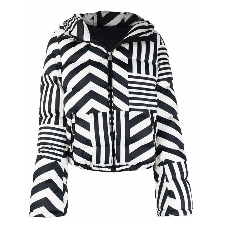 أسفل سترة للنساء 2021 الشتاء الأسود والأبيض المشارب معطف مقنعين تصميم الأزياء أسفل الستر سترة المرأة قصيرة