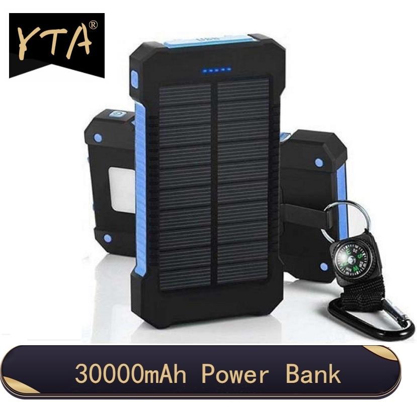 30000mAh Solar Power Bank Wasserdichte Solar Ladegerät USB Ports Externe Ladegerät Power für Xiaomi Smartphone mit LED Licht