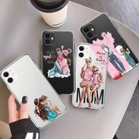 super dad mom baby girl family phone case for iphone 13 12 11 8 7 pro max plus x xs xr mini transparent clear new