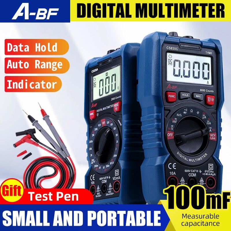 Multímetro portátil de A-BF, medidor de voltaje pequeño inteligente de alta precisión, rango Manual, multímetro de rango automático, retroiluminación