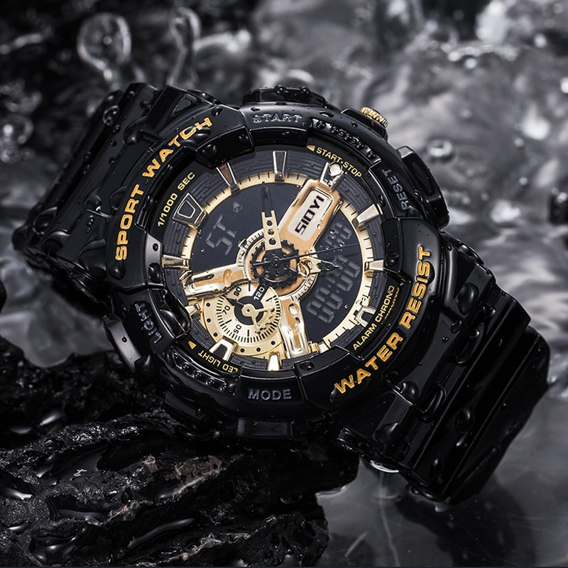 SIOYI Clock Fashion Digital Watch Men Shockproof Waterproof Dual Wristwatches LED Chrono Alarm Clock Mens Watches Cool Hour