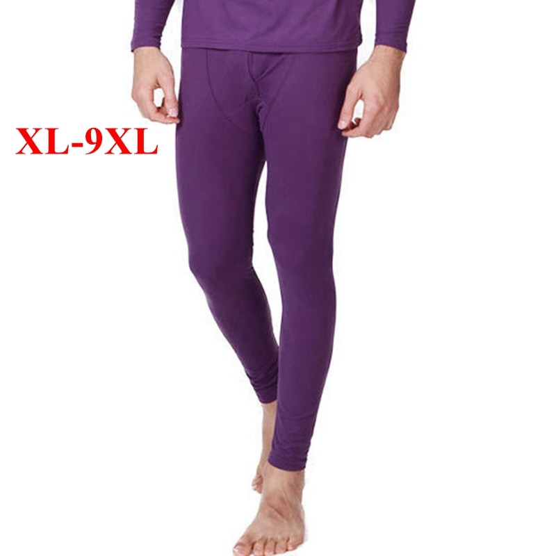 FAISIENS Plus Size Leggings Bottom Men Thin Elastic 6XL 7XL 8XL 9XL Male Soft Black Gray Purple Red Underwear Thermal Pants
