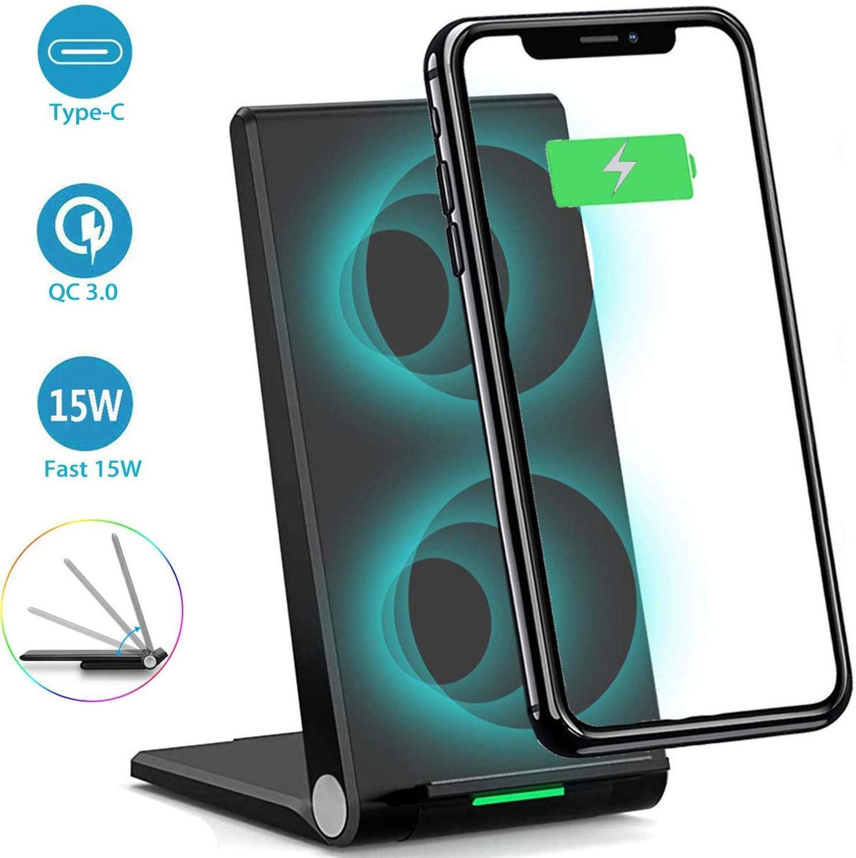 DCAE 15W rápido cargador inalámbrico para iPhone 11 XS Max X 8 XR Airpods Pro Samsung S20 S10 S9 Nota 10 9 8 doble de carga Qi soporte Pad