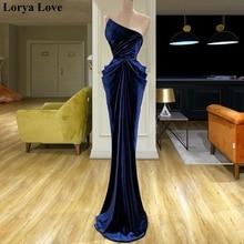 Elegant Navy Blue Velvet Mermaid Arabic Evening Dresses Long Women Special Occasion Party Long Dress 2020 Dubai Prom Formal Gown